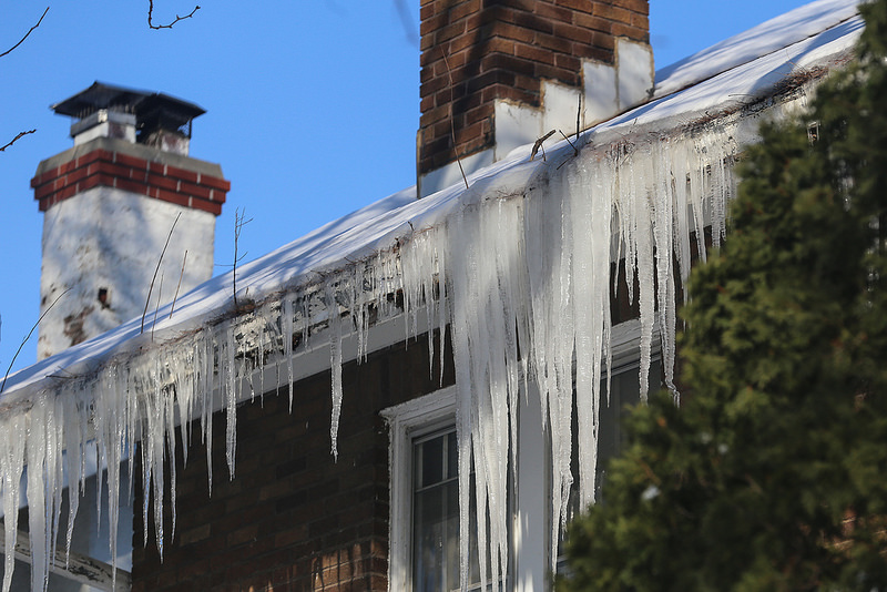 Icicles are often a sign that water is not draining properly from the roof. Check gutters regularly for debris